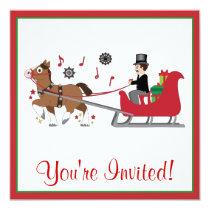 Christmas Party Invite Horse-Drawn Sleigh