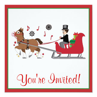 Christmas Party Invite Horse-Drawn Sleigh