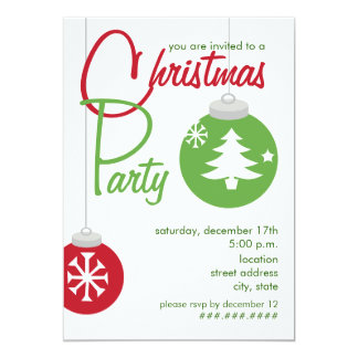 Christmas Party Invite - Red & Green Ornaments