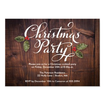 Christmas Themed Christmas Party Invite Rustic Brown