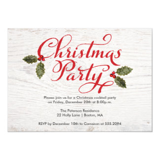 Christmas Party Invite Rustic White