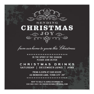 CHRISTMAS PARTY INVITE vintage look black white