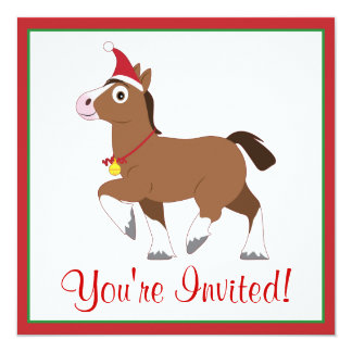 Christmas Party Invite with Horse in Santa Hat