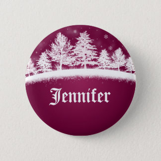Christmas Party Name Tags Hot Pink Pinback Button