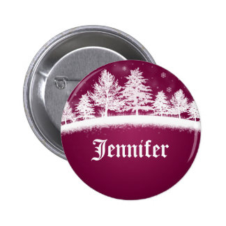 Christmas Party Name Tags Hot Pink Pinback Buttons