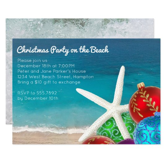 christmas party on the beach invitation - Beach Christmas Pictures