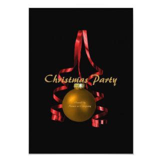 "Christmas party ornament elegant tree ribbon 5"" x 7"" invitation card"
