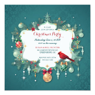 Christmas Party Ornaments Cardinal Teal Damask Invitation