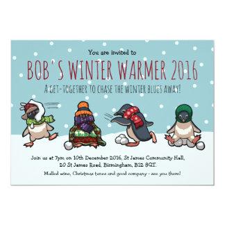 Christmas Party Penguin Snowball Fight Cartoon Card