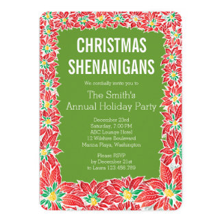 Christmas Party Poinsettia Invitation