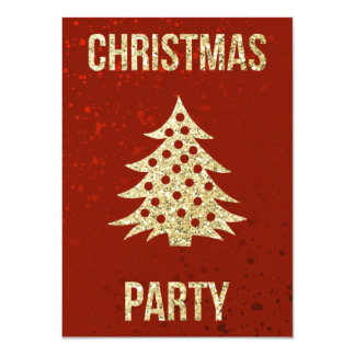 Christmas Party | Red and Gold Christmas Tree Card