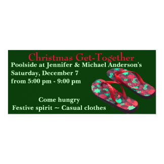 Christmas Party red and green flip flops Card