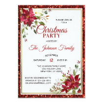 CHRISTMAS PARTY Red Glitter Floral Poinsettia Invitation