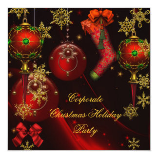 CHRISTMAS PARTY Red Gold Holiday Corporate Card