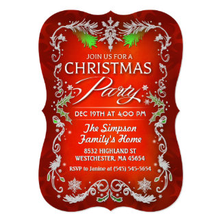 Christmas Party Red Green & White Border Invite