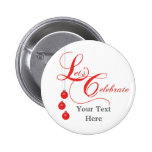 Christmas Party Red Lace 2 Inch Round Button