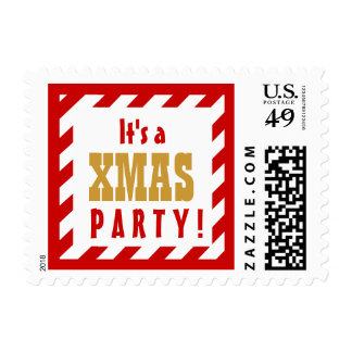 CHRISTMAS PARTY RED Stripes GOLD Accent Postage Stamps