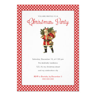 Christmas Party Red White Polka Dots Vintage Santa 5x7 Paper Invitation Card