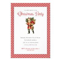 Christmas Party Red White Polka Dots Vintage Santa Card