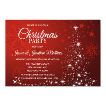 CHRISTMAS PARTY Red White Snowflakes Snow Tree Invitation