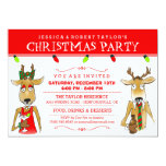 Christmas Party Reindeer with Drinks Invite