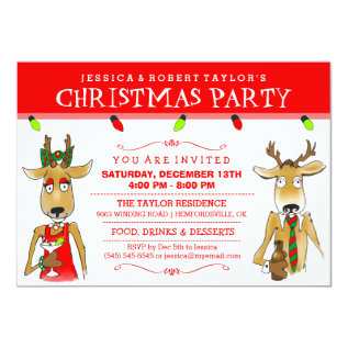 Christmas Party Reindeer with Drinks Invite at Zazzle