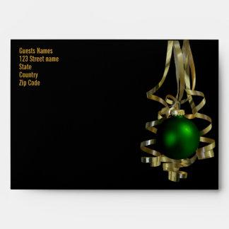 Christmas party ribbons card invitation baubel envelope