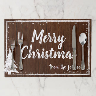 Christmas Party | Rustic Wood Snow Merry Christmas Paper Placemat