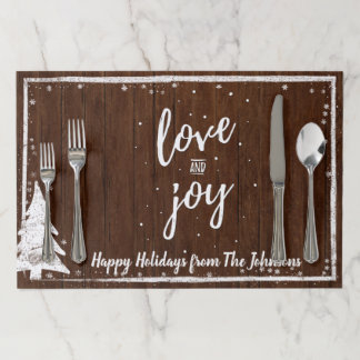 Christmas Party | Rustic Wood Snowflakes Love Joy Paper Placemat