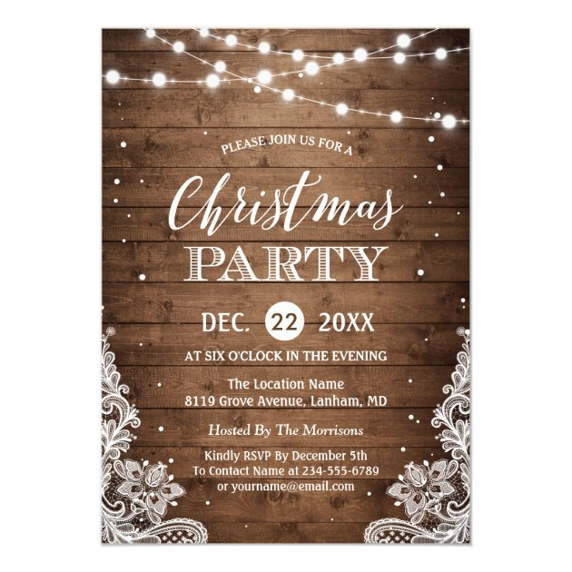 Christmas Party | Rustic Wood String Lights Lace Card