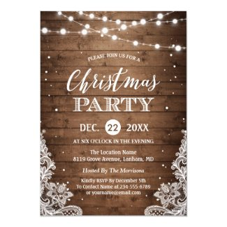 Christmas Party | Rustic Wood Twinkle Lights Lace
