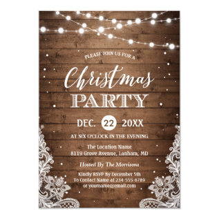 Christmas Party | Rustic Wood Twinkle Lights Lace Card at Zazzle
