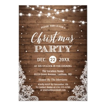 Christmas Themed Christmas Party | Rustic Wood Twinkle Lights Lace Card