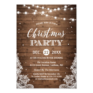 Christmas Party | Rustic Wood Twinkle Lights Lace Invitation