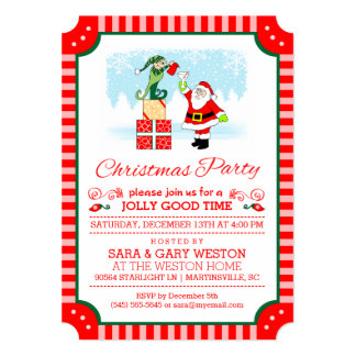 Christmas Party Santa Drinking with Elf Invitation