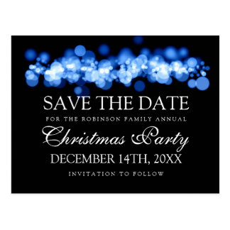 Christmas Party Save The Date Blue Bokeh Lights Postcard
