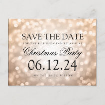 Christmas Party Save The Date Copper Glitter Light Announcement Postcard