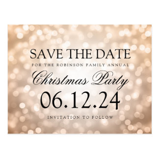 Christmas Party Save The Date Copper Glitter Light Postcard