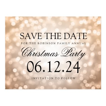 Christmas Themed Christmas Party Save The Date Copper Glitter Light Postcard