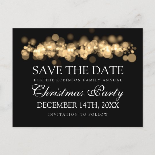 Christmas Party Save The Date Template.Christmas Party Save The Date Gold Bokeh Lights Announcement Postcard