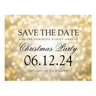 Christmas Party Save The Date Gold Glitter Lights Postcard