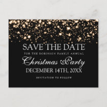 Christmas Party Save The Date Gold Midnight Glam Announcement Postcard