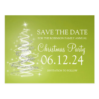 Christmas Party Save The Date Sparkling Tree Green Postcard