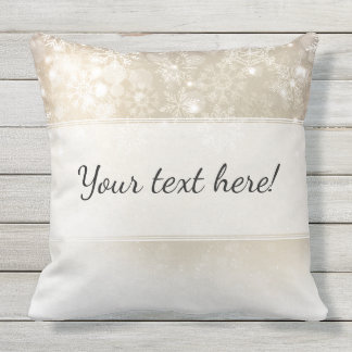 Christmas Party | Silver Winter Snowflakes Outdoor Pillow