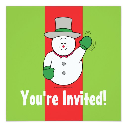 Christmas Party Snowman Waving Invitation