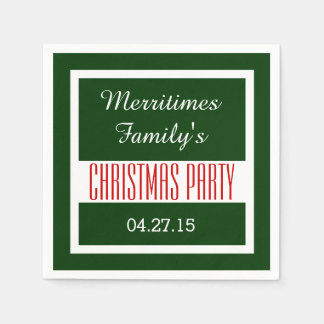 CHRISTMAS PARTY Solid Colored Square Frame C02 Paper Napkin