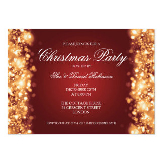 Christmas Party Sparkling Lights Gold Card