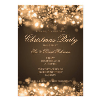 Christmas Party Sparkling Lights Gold Personalized Invitation