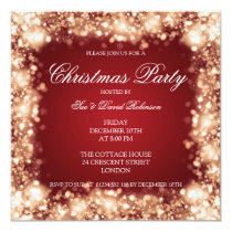 Christmas Party Sparkling Lights Gold Invitation