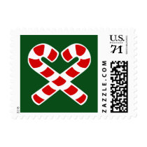 Christmas party stamps with candy canes heart